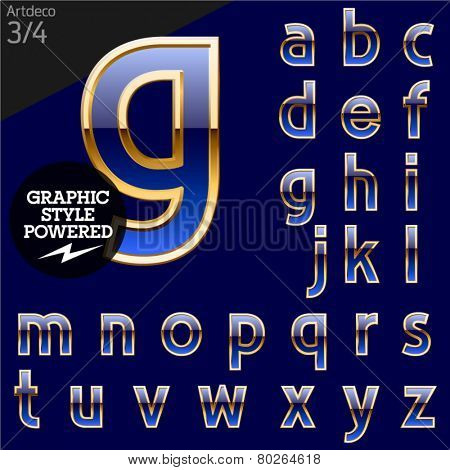 Illustration of golden alphabet. Art deco. File contains graphic styles available in Illustrator. Set 3