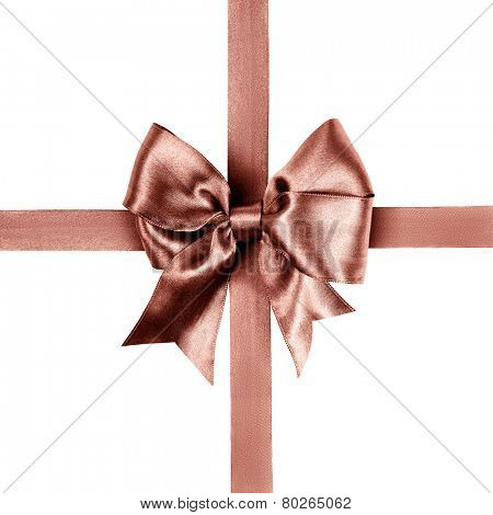 red brown bow made from silk ribbon isolated
