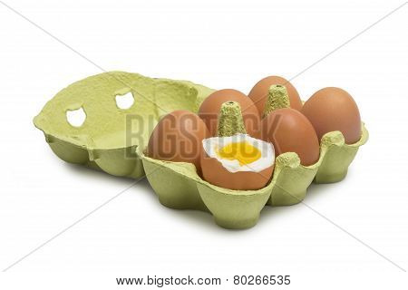 Box Of Eggs With One Broken Boiled Egg