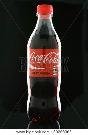 Coca-cola Bottle On Black