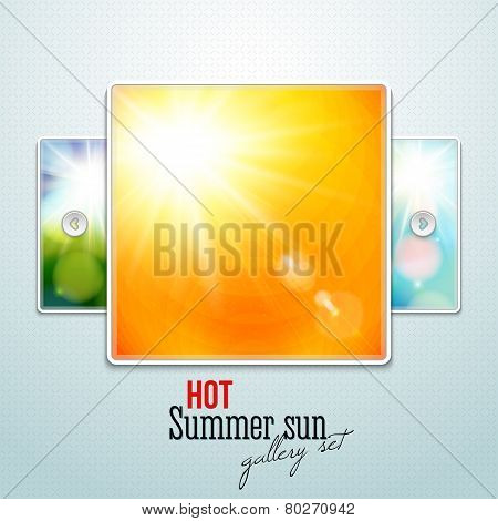 Set of hot shining sun with lens flare. Web slider stylization.