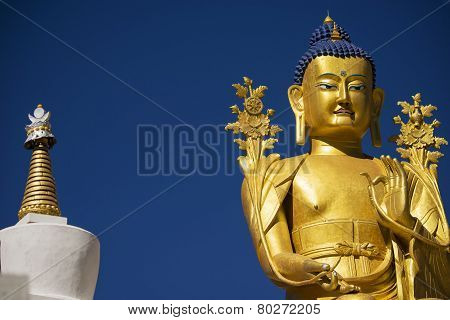 close up golden Maitreya Buddha statue in Likir Monastery Ladakh ,India - September 2014