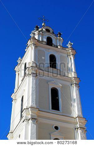 Vilnius University Church Belfry Against Blue Sky View