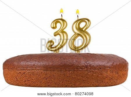 Birthday Cake Candles Number 38 Isolated