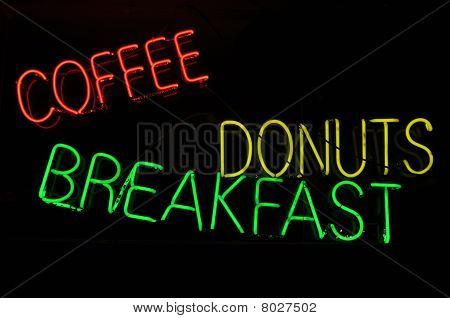 Coffee Donuts Breakfast Neon Light Sign