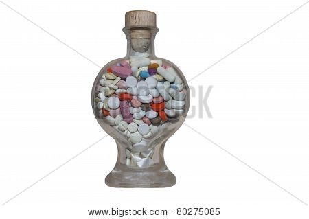 medicaments in a glass container, a heart, isolated on white