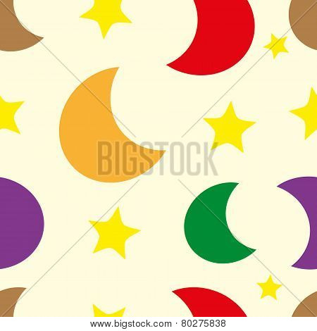 Color moon and stars seamless texture