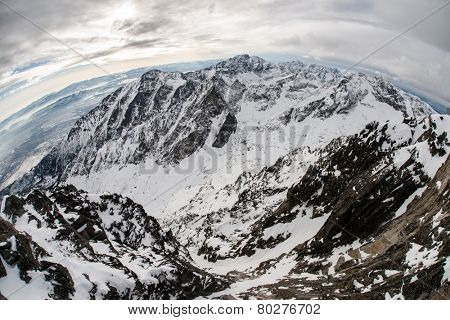 Panorama of Snow Mountain Range Landscape with fisheye lens