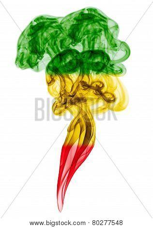 Smoke Pillar Colored In Flag Of Reggae