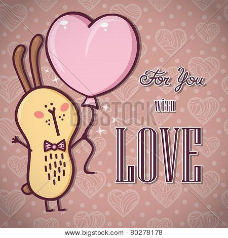 Romantic rabbit card