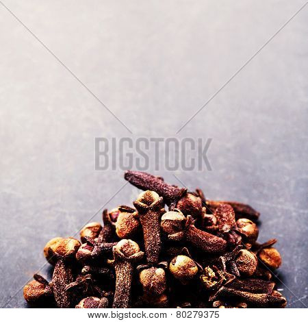 Spice Background - Various Spices Over Dark Table. Collection Of Different Spices. Food Backdrop