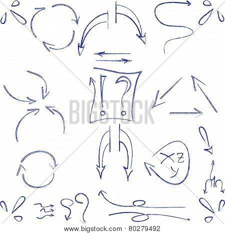 hand drawn arrows and symbols ball pen