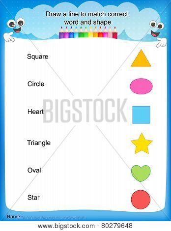 Match Shapes Kids Worksheet