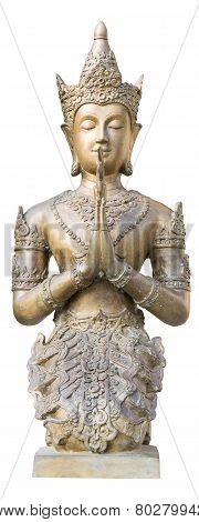 Old Seraph Statue In Temple Thailand. Isolate With Path