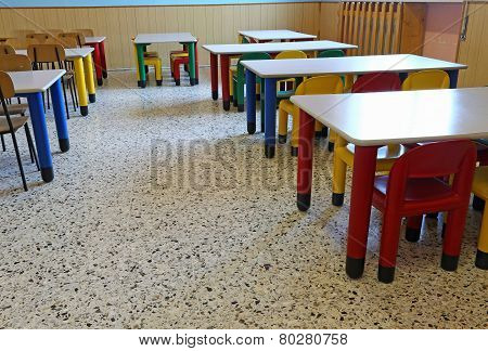 Dining Room Of The Nursery Canteen Without Children