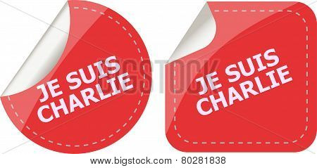 Je Suis Charlie Text On Web Icon, Movement Against Terrorism