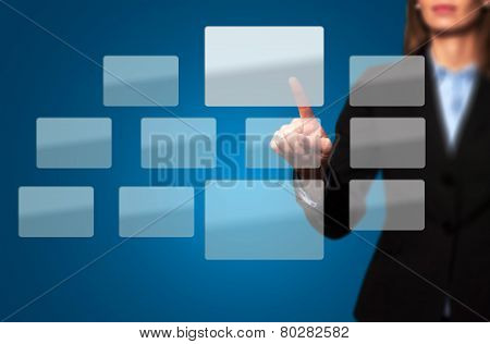 Businesswoman Touching World Button