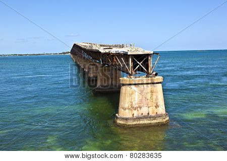 Old Railroad Bridge On The Bahia Honda Key In The Florida Keys