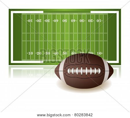 American Football Field And Ball Isolated On White