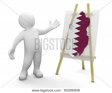 Man and Qatar map (clipping path included)