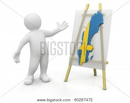 Man and Swedish map (clipping path included)