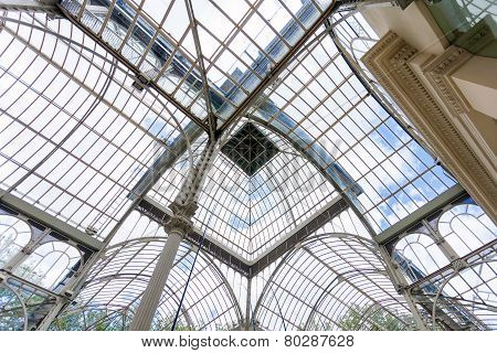 Crystal Palace (palacio De Cristal) Cupola Interior View In Retiro Park, Madrid