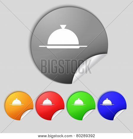 Food Platter Serving Sign Icon. Table Setting In Restaurant Symbol. Set Colourful Buttons. Vector