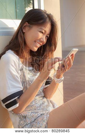 Portrait Of Beautiful  Woman Chat Social Media On Smrt Phone
