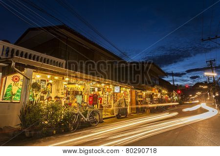 Walking Street in Pai, Mea Hong Son, Thailand