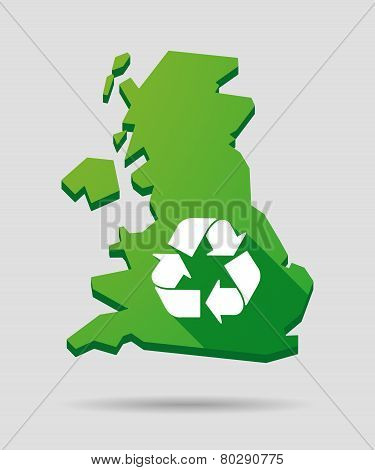 United Kingdom Map Icon With A Recycle Sign