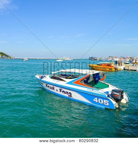 Motor Boat At Boat Park For Visitors To The Harbor With Coast Of Pattaya City.