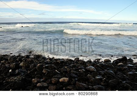 Stony Beach With Waves