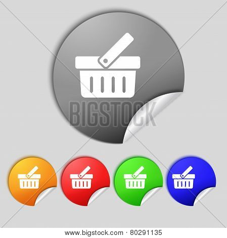 Shopping Cart Sign Icon. Online Buying Button. Set Colourful Buttons. Vector