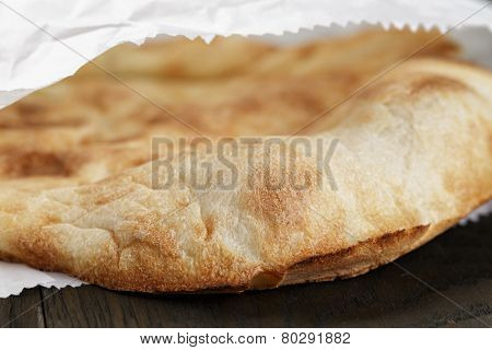 Close Up Of Frshly Baked Flat Pita Bread