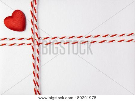 Red Heart Valentine Day Background, Wedding Invitation Card Envelope With Ribbon, Rope Tied Bow Knot