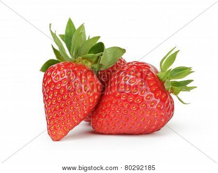 Whole Strawberries Berry Isolated On White