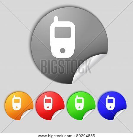 Mobile Telecommunications Technology Symbol. Set Colour Buttons. Vector