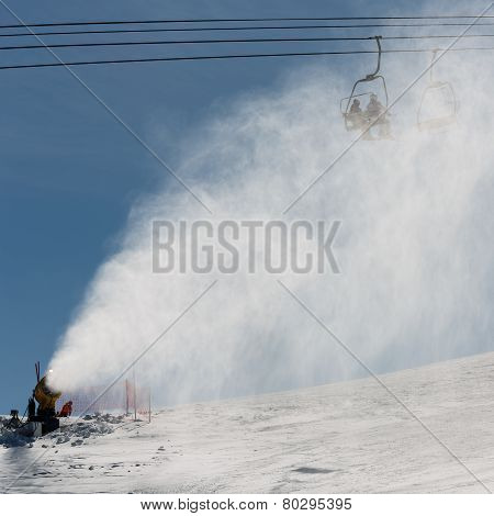 Snowmaking Spraying Snow