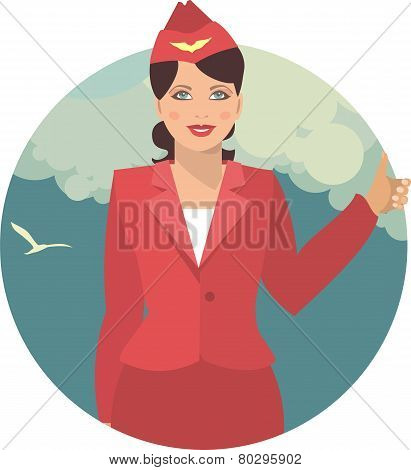Stewardess Against The Sky