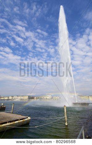 View of the port in Geneva lake, Switzerland