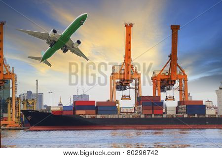 container ship loading on port and cargo plane flying above for water and air transportation industr