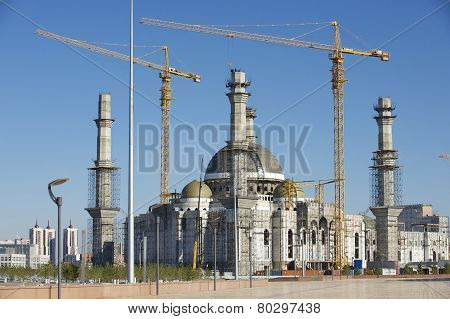 Construction of the Hazret Sultan mosque in process, Astana, Kazakhstan.