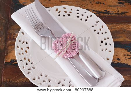 White Plate Serviette Fork Knife With Handmade Pink Crochet Heart For Saint Valentine's Day