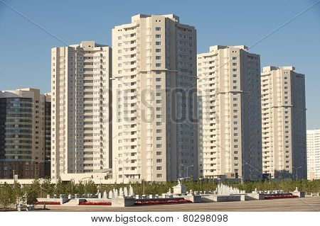 New residential area buildings in Astana, Kazakhstan.