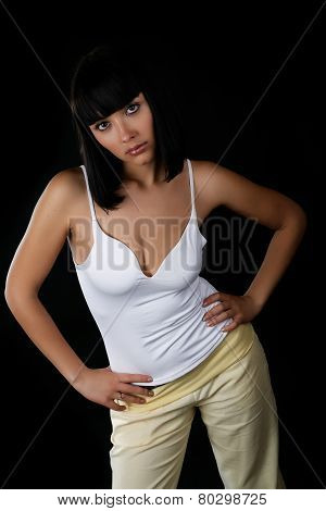 The Full Girl With The Big Breast On A Black Background