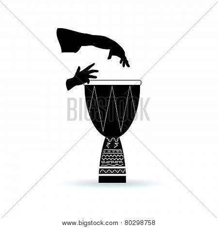 Bongo Black And White Vector