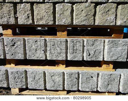 Rough blocks of granite stock
