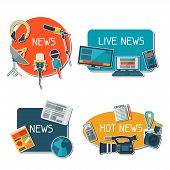foto of mass media  - Stickers with journalism icons - JPG
