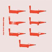 pic of animated cartoon  - Cute stylized red Fox cartoon inaction set - JPG