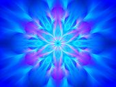 image of tantric  - Blue glowing yantra computer generated abstract background - JPG